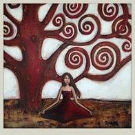 Lady beneath a tree.